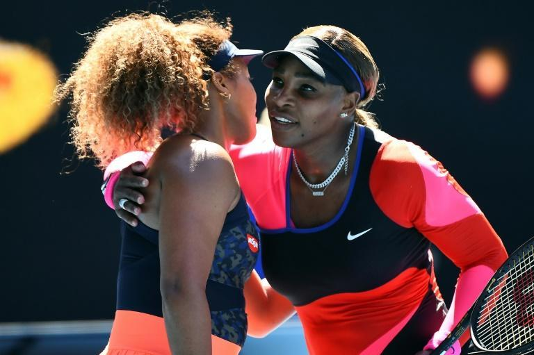 Changing face of tennis: Serena Williams congratulates Naomi Osaka after their semi-final, which Osaka won in straight sets to reach the Australian Open final