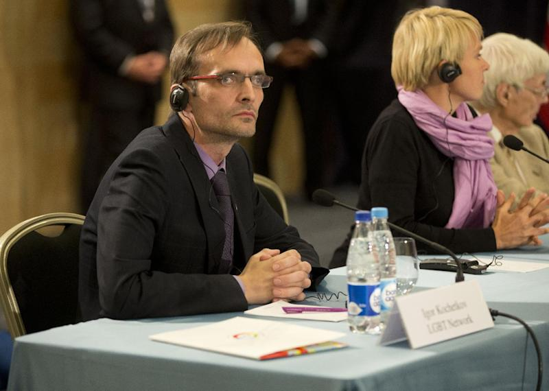"Igor Kochetkov, chairman of the Russian LGBT Network, takes part in a ""Civil Society Roundtable"" with President Barack Obama and gay, lesbian, bisexual and transgender activists, Friday, Sept. 6, 2013, in St. Petersburg, Russia. (AP Photo/Pablo Martinez Monsivais)"