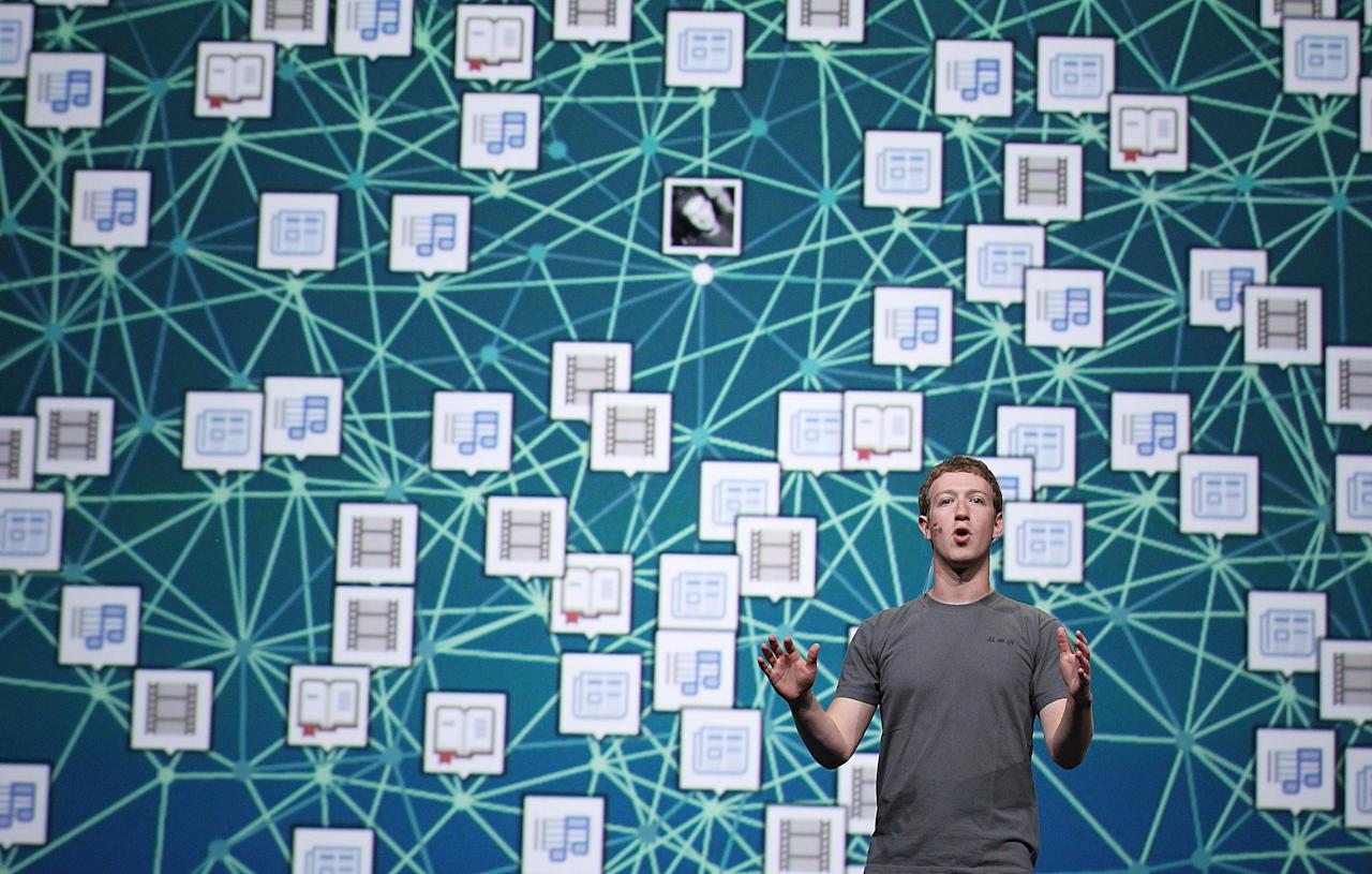 SAN FRANCISCO, CA - SEPTEMBER 22:  Facebook CEO Mark Zuckerberg delivers a keynote address during the Facebook f8 conference on September 22, 2011 in San Francisco, California. Facebook CEO Mark Zuckerberg kicked off the conference introducing a Timeline feature to the popular social network.  (Photo by Justin Sullivan/Getty Images)