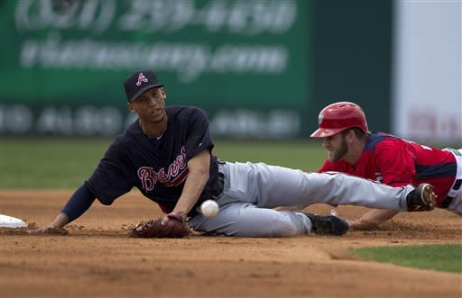 Washington Nationals' Bryce Harper, left, steals second base as the baseball gets away from Atlanta Braves infielder Andrelton Simmons, right, during the first inning of an exhibition spring training baseball game on Sunday, March 24, 2013, in Viera, Fla. A throwing error was charged to Braves catcher Matt Pagnozzi and it led to a run scored by Nationals' Denard Span. (AP Photo/Evan Vucci)