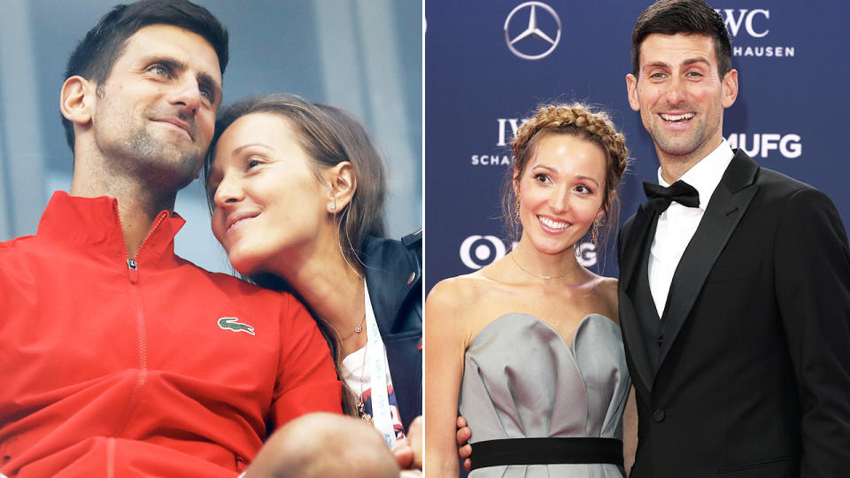 Novak Djokovic, pictured here with wife Jelena.