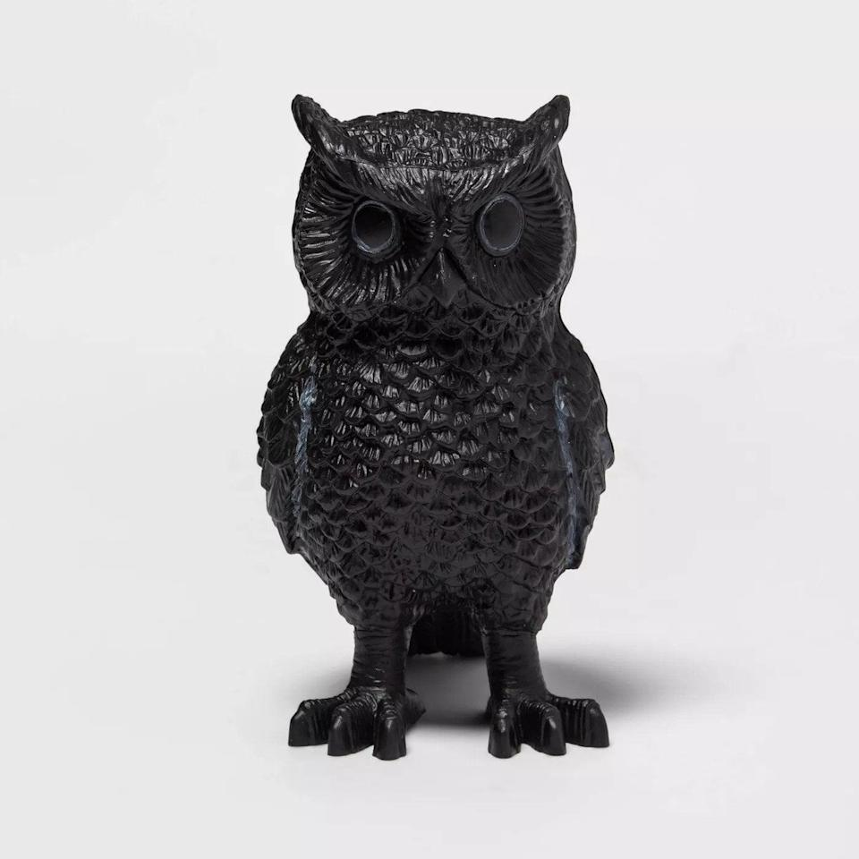 <p>Add a gothic look to your space with this <span>Owl Halloween Decorative Sculpture</span> ($5) from Target's Hyde and Eek! collection. Depending on the vibe that you're going for, you can choose from black, copper, and gold variations.</p>