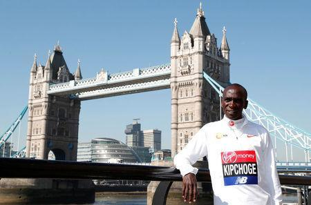 Athletics - London Marathon - Elite Men Press Conference - London, Britain - April 19, 2018 Kenya's Eliud Kipchoge poses for a photograph Action Images via Reuters/Peter Cziborra