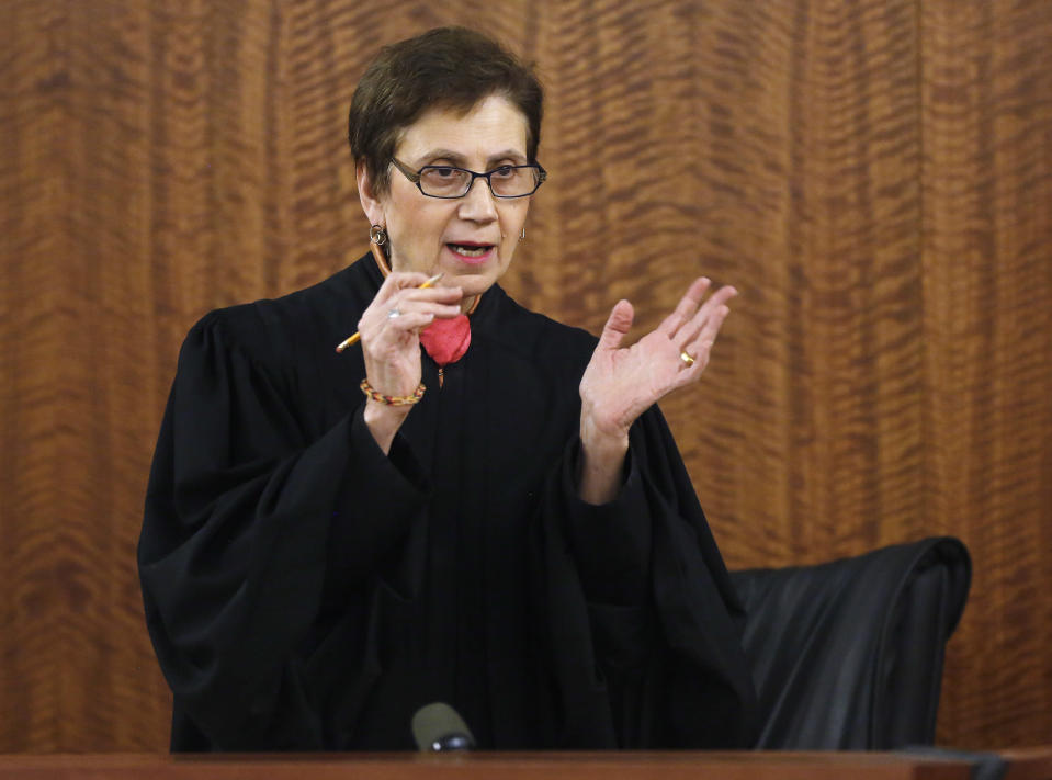 Superior Court Judge E. Susan Garsh barred a cameraman from entering the courthouse. (AP)