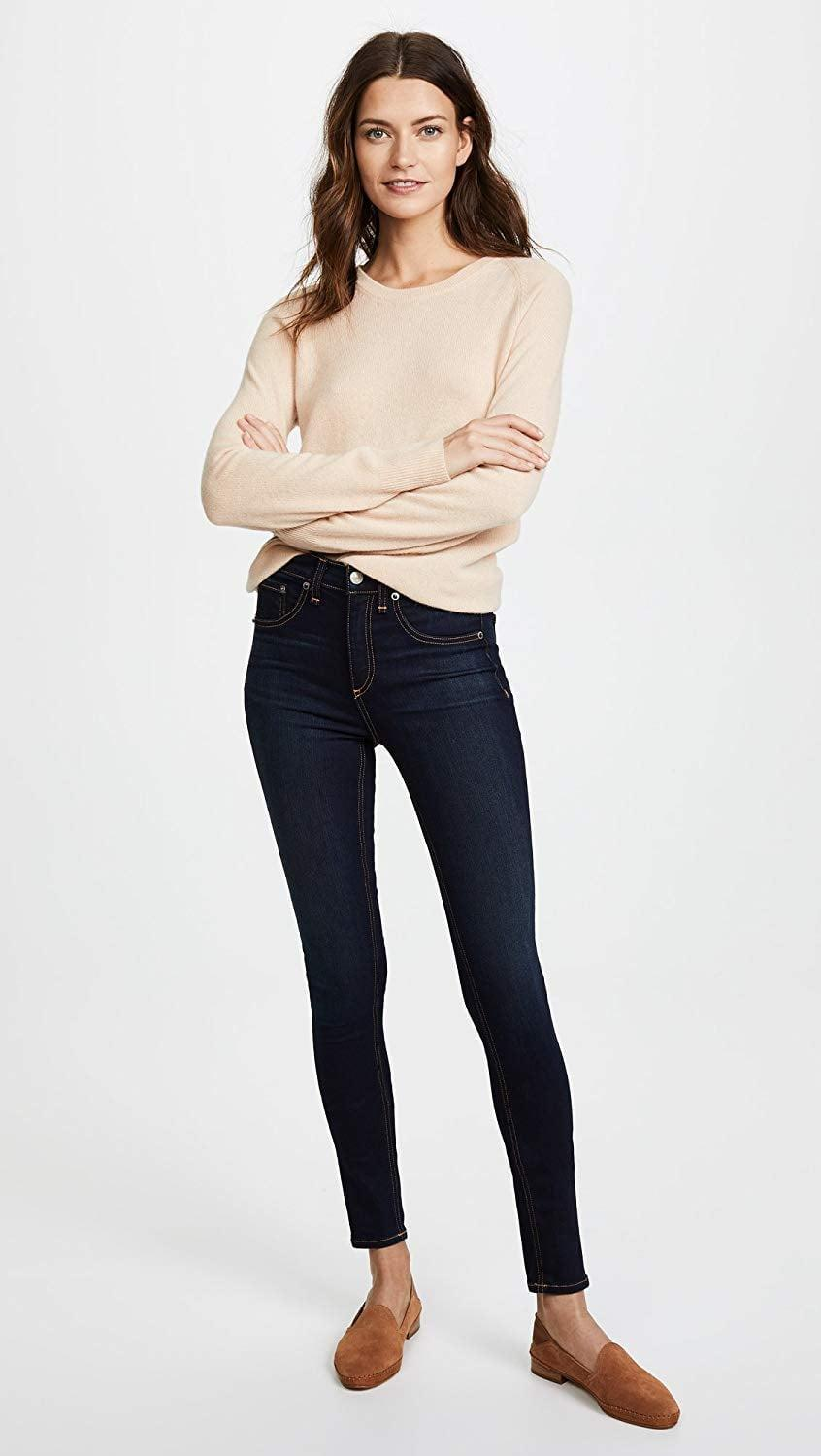 <p>The dark wash on these <span>Rag &amp; Bone/Jean High Rise Skinny Jeans </span> ($189) will never go out of style.</p>