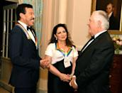 US Secretary of State Rex Tillerson (R) chats with 2017 Kennedy Center Honorees singer Lionel Ritchie (L) and Cuban-American singer Gloria Estefan at the conclusion of a gala dinner at the U.S. State Department, in Washington, U.S., December 2, 2017. REUTERS/Mike Theiler