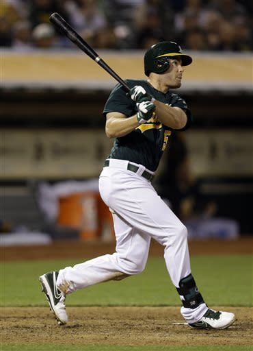 Oakland Athletics' Seth Smith drives in three-runs with a bases-loaded double against the Los Angeles Angels during the sixth inning of a baseball game on Tuesday, April 30, 2013 in Oakland. Calif. (AP Photo/Marcio Jose Sanchez)