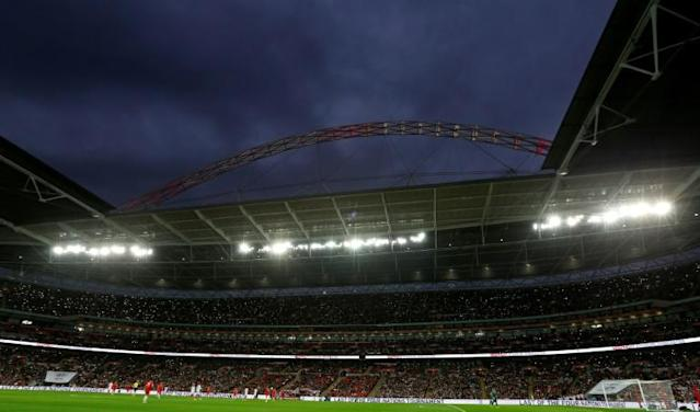 London's iconic Wembley stadium will host the semi-finals and final of Euro 2020 (AFP Photo/Ian KINGTON)