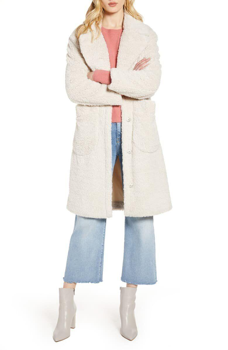 "This white teddy coat has front snap closure, patch pockets and oversized lapels. <strong><a href=""https://fave.co/2UKHwWc"" target=""_blank"" rel=""noopener noreferrer"">Find it for $118 at Nordstrom</a></strong>."