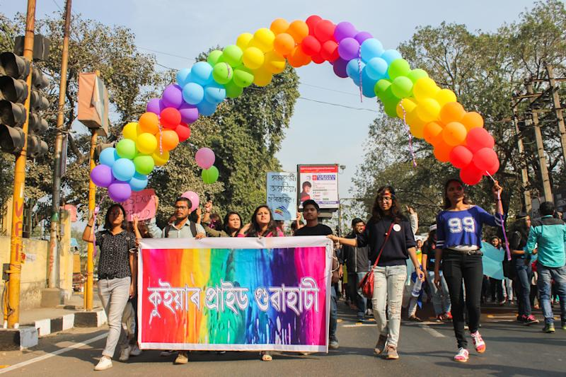 GUWAHATI, ASSAM, INDIA - 2018/02/11: 5th QUEER PRIDE Walk March through the streets to reclaim space for Lesbian, Gay, Bisexual, Transgender, Queer, Inter-sexes and Asexual persons. It is a struggle for assertion of marginalized identities and claiming rights for LGBTQ persons. (Photo by David Talukdar/Pacific Press/LightRocket via Getty Images)