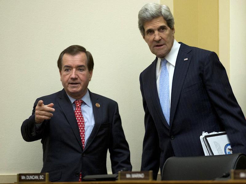 Secretary of State John Kerry, right, arrives with House Foreign Affairs Committee Chairman Rep. Edward Royce, R-Calif. on Capitol Hill in Washington, Wednesday, April 17, 2013, prior to Kerry testifying before the committee's hearing on the State Department's fiscal 2014 foreign affairs budget. (AP Photo/Carolyn Kaster)