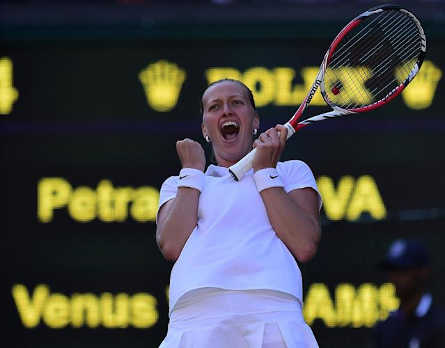 Czech Republic's Petra Kvitova celebrates winning her women's singles third round match against American Venus Williams on day five of the 2014 Wimbledon Championships at The All England Tennis Club in Wimbledon, southwest London, on June 27, 2014 (AFP Photo/Carl Court)