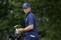 Jordan Spieth walks off the eighth green during the final round of the Charles Schwab Challenge golf tournament at Colonial Country Club in Fort Worth, Texas, Sunday, May 30, 2021. (AP Photo/Michael Ainsworth)