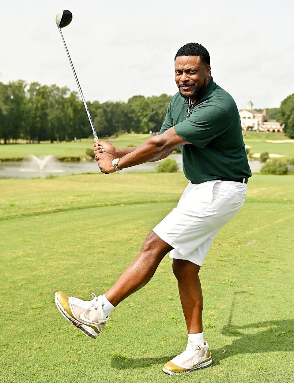 <p>Chris Tucker hits the green at The Chris Tucker Foundation's 2021 Celebrity Golf Tournament at the Eagles Landing Country Club on Aug. 30 in Stockbridge, Georgia.</p>