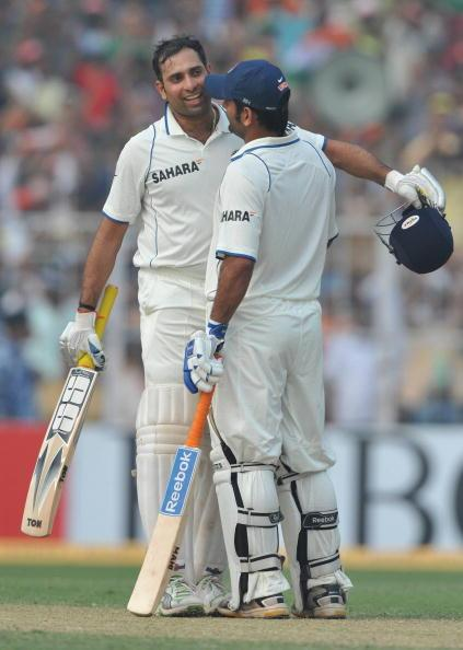 KALKOTA, INDIA - FEBRUARY 16: VVS Laxman of India celebrates his 100 with Mahendra Singh Dhoni during the day three of the Second Test match between India and South Africa at  Eden Gardens on February 16, 2010 in Kolkata, India. (Photo by Duif du Toit/Gallo Images/Getty Images)