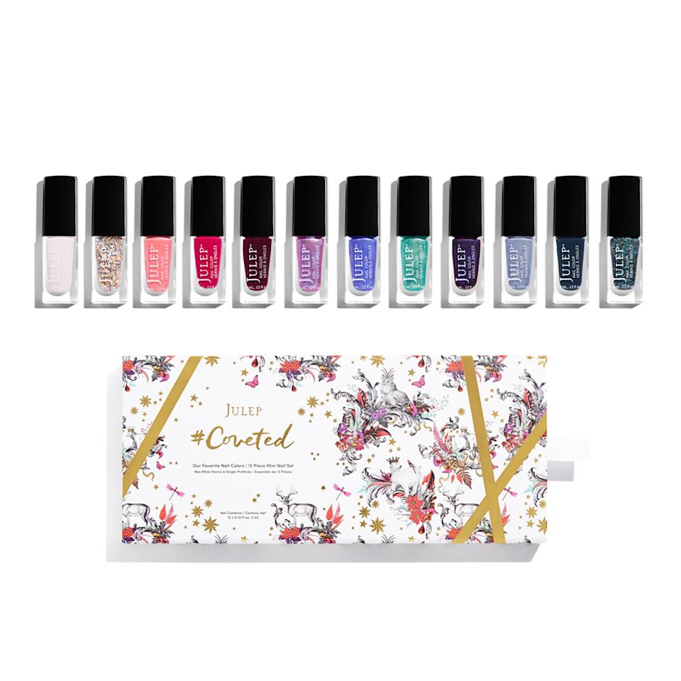 "<p>Julep packaged up twelve of their top-selling nail colors from 2016 into one fun and festive set. The box—decorated by Icelandic-born, London-based illustrator <a rel=""nofollow"" href=""http://www.kristjanaswilliams.com?mbid=synd_yahoobeauty"">Kristjana Williams</a>—includes a variety of colors, including Finley- Bombshell (navy blue) and Mickey-Classic With a Twist (fuchsia). Plus, it includes a matte, confetti-glitter topcoat for times when you want to add a little extra glitz to your manicure.</p> <p>$48 (<a rel=""nofollow"" href=""http://www.julep.com/holiday/nail/coveted-2016.html?mbid=synd_yahoobeauty"">julep.com</a>).</p>"