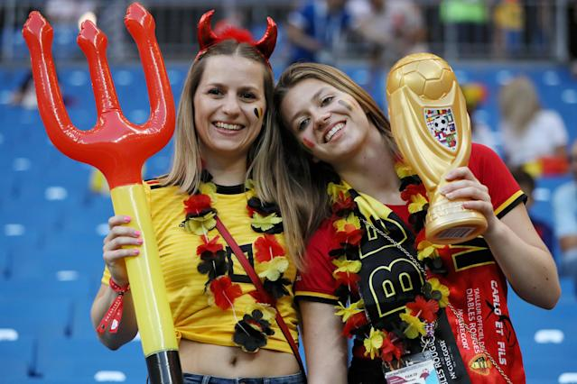 <p>Belgium fans enjoy the pre match atmosphere prior to the 2018 FIFA World Cup Russia Round of 16 match between Belgium and Japan at Rostov Arena on July 2, 2018 in Rostov-on-Don, Russia. (Photo by Kevin C. Cox/Getty Images) </p>