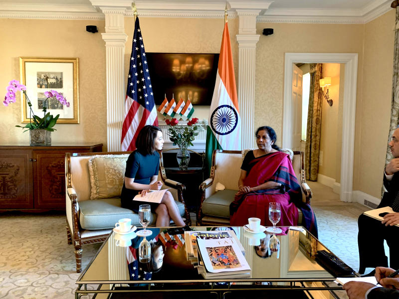 Yahoo Finance reporter Akiko Fujita with Indian Finance Minister Nirmala Sitharaman. (Photo credit: Aarthi Swaminathan/Yahoo Finance)