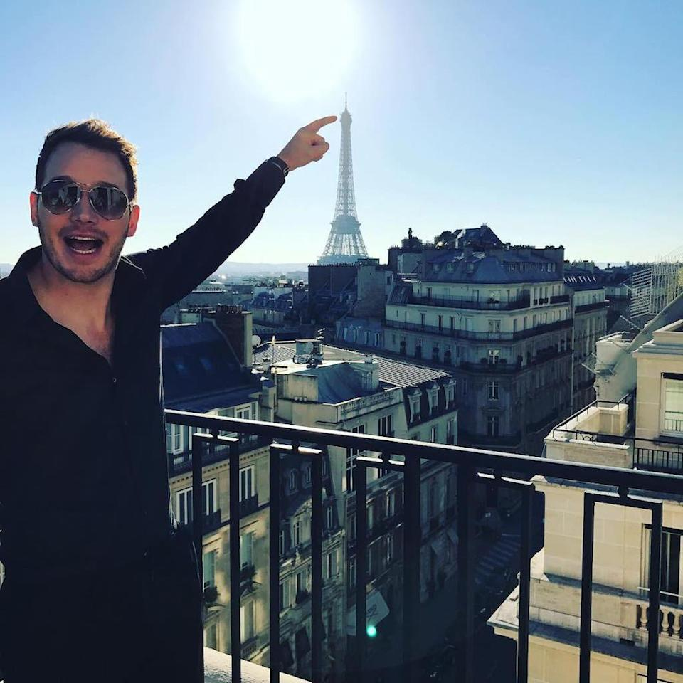 """<p>""""Just had a groundbreaking idea to touch the tip of the Eiffel Tower in this photo,"""" joked the <em>Jurassic Park</em> star in November. """"I said, 'Hey, I'm about to do something nobody has ever done before… This pose is now legally called a #chrisPratt. I have patented it. If you do this pose you can be sued."""" Good luck with that. (Photo: <a rel=""""nofollow noopener"""" href=""""https://www.instagram.com/p/BNZRzD3hzoI/?hl=undefined"""" target=""""_blank"""" data-ylk=""""slk:Chris Pratt via Instagram"""" class=""""link rapid-noclick-resp"""">Chris Pratt via Instagram</a>) </p>"""
