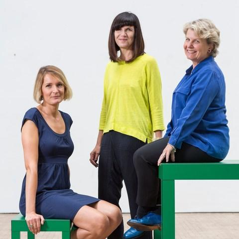 Founders and leaders of the Women's Equality Party Sandi Toksvig (blue shirt), Catherine Mayer (yellow shirt) and Sophie Walker. - Credit: David Levene/eyevine