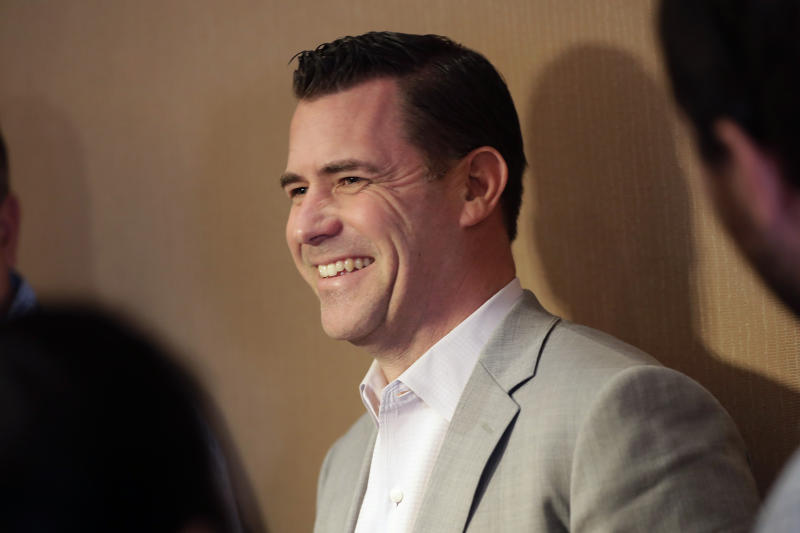 New York Mets general manager Brodie Van Wagenen speaks at a media availability during the Major League Baseball general managers annual meetings, Wednesday, Nov. 13, 2019, in Scottsdale, Ariz. (AP Photo/Matt York)