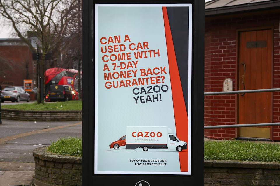 LONDON, UNITED KINGDOM - 2021/02/01: A Cazoo's digital advert seen displayed in London. (Photo by Dinendra Haria/SOPA Images/LightRocket via Getty Images)