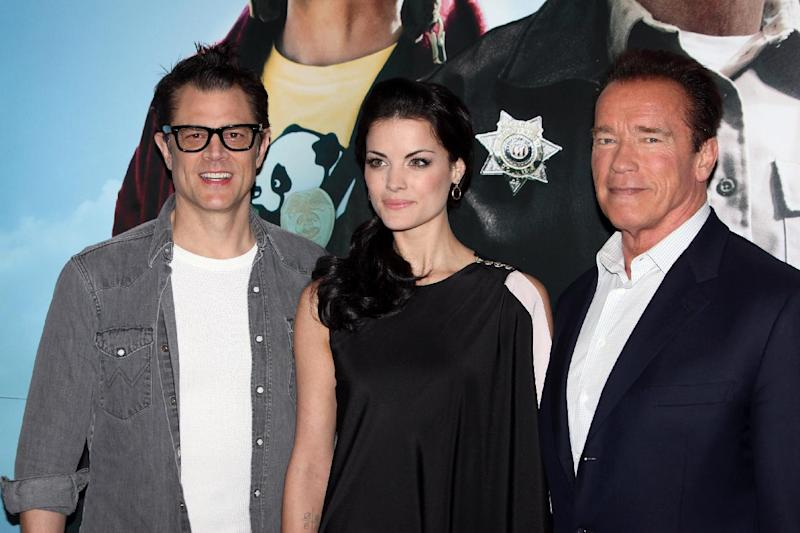 """From left, Johnny Knoxville, Jaimie Alexander and Arnold Schwarzenegger seen at a photo call for the film """" The Last Stand"""" in London Tuesday Jan. 22. 2013 . (Photo by Jon Furniss Photography/Invision/AP)"""
