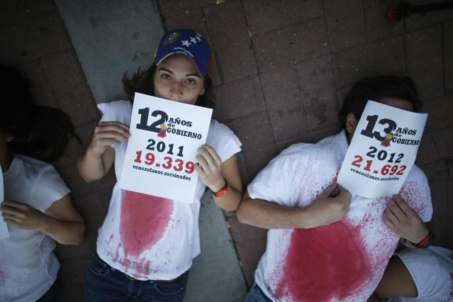 REFILE - ADDING ADDITIONAL INFORMATION Anti-government protesters hold placards with the numbers of deaths by violence per year during a rally against violence in Caracas March 7, 2014. Latin American foreign ministers will meet next week to discuss the unrest in Venezuela that has left at least 20 dead and convulsed the South American OPEC nation, diplomatic sources said on Friday. Picture rotated 180 degrees. REUTERS/Tomas Bravo (VENEZUELA - Tags: POLITICS CIVIL UNREST TPX IMAGES OF THE DAY)