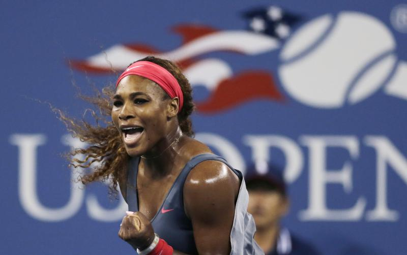 Serena Williams, of the United States, pumps her fist after winning a point against Yaroslava Shvedova, of Kazakhstan, during the third round of the 2013 U.S. Open tennis tournament, Saturday, Aug. 31, 2013, in New York. Williams defeated Shvedova. (AP Photo/Charles Krupa)