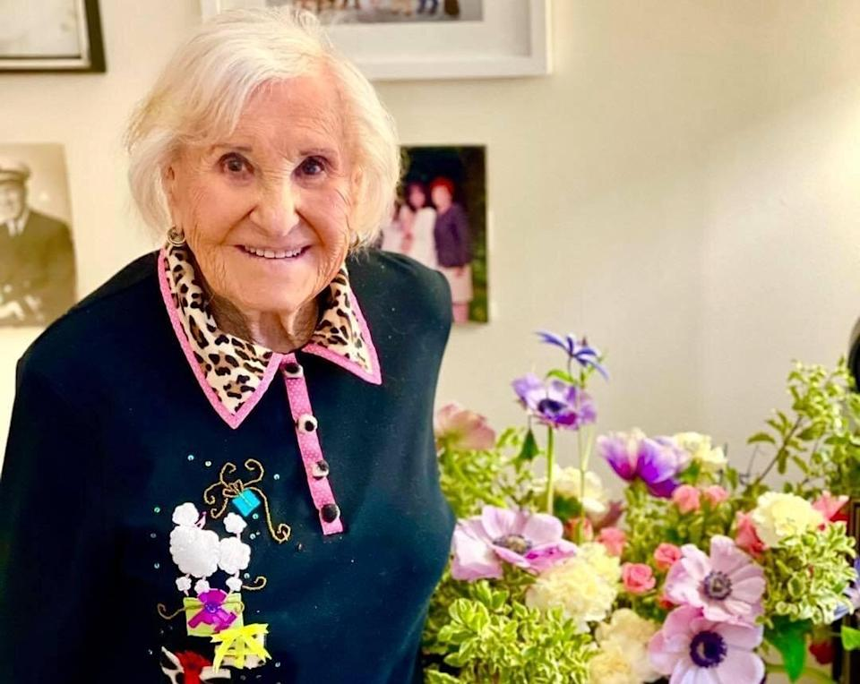Ruth Schwartz, a 99-year-old resident atAtria Senior Living home in New York City, was excited to get the vaccine and said she had minimal side effects. (Photo: Courtesy of Atria Senior Living)