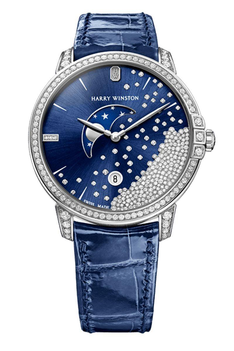 """<p><strong>Harry Winston Midnight Diamond Drops Watch</strong></p><p>harrywinston.com</p><p><a href=""""https://www.harrywinston.com/en/midnight-diamond-drops-39mm-0"""" rel=""""nofollow noopener"""" target=""""_blank"""" data-ylk=""""slk:Shop Now"""" class=""""link rapid-noclick-resp"""">Shop Now</a></p><p>Harry Winston's history as a purveyor of diamonds dates back to 1932, when the eponymous gemologist founded a company that pioneered the way jewelry was designed. He focused on the stones—rather than the settings—to create intricate, eye-catching clusters. To wit: It reshaped the Hope Diamond to what it is today. This affinity for the brilliance and cut of gems manifested into a timepiece collection, aptly titled Premier, which was introduced several decades later in 1989.<br><br>Since then, the brand has created watches covered in brilliants, shaped cases to resemble emerald-cut diamonds, and painted dials in midnight blue to highlight its history with the Hope Diamond. </p>"""