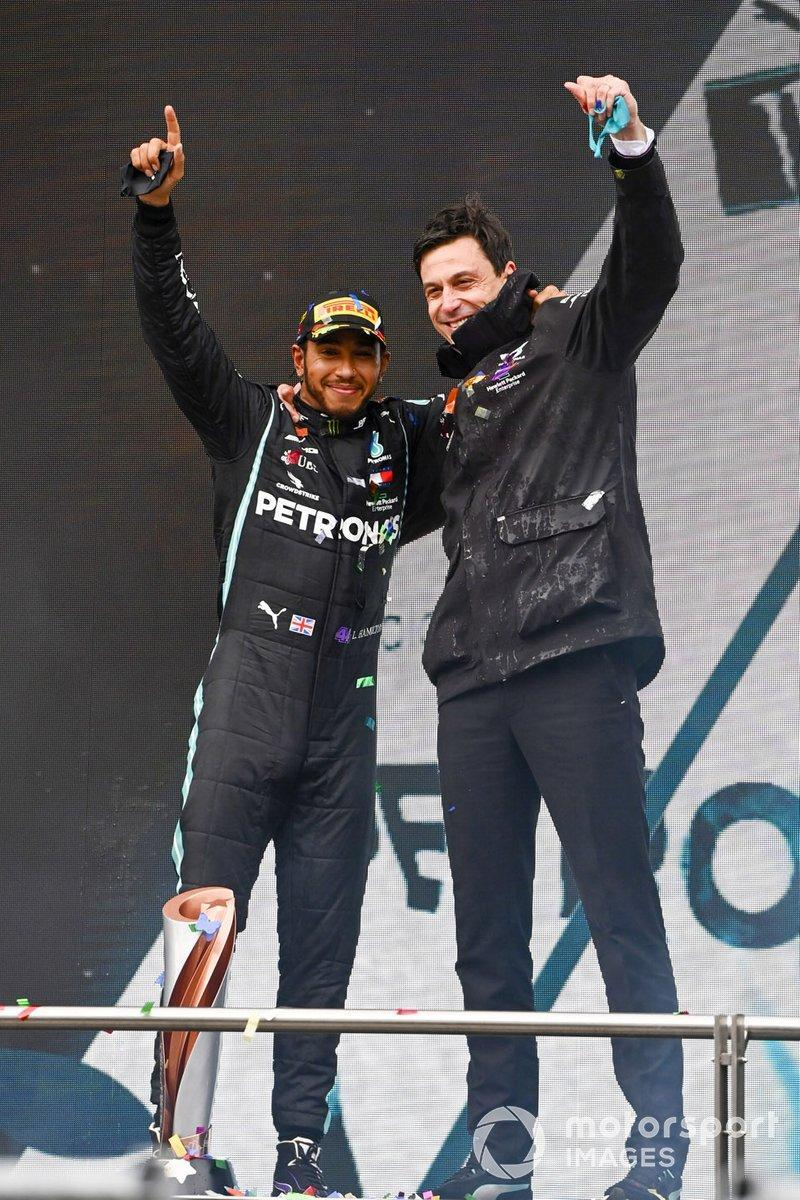 "Lewis Hamilton, Mercedes-AMG F1, after winning the race, to take his 7th World Championship title, with Toto Wolff, Executive Director (Business), Mercedes AMG <span class=""copyright"">Mark Sutton / Motorsport Images</span>"