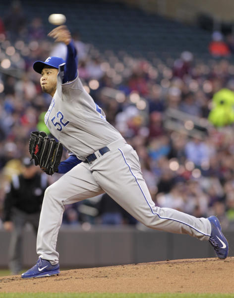Kansas City Royals starting pitcher Bruce Chen (52) delivers during the first inning of a baseball game, Friday, April 11, 2014, in Minneapolis. AP Photo/Paul Battaglia)