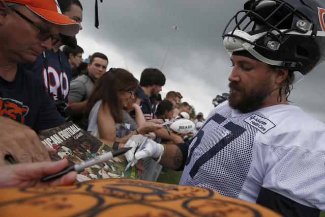 "Dan Skuta, shown with the Bears at their 2017 training camp, has filed an opposition to the <a class=""link rapid-noclick-resp"" href=""/nfl/teams/jac"" data-ylk=""slk:Jaguars"">Jaguars</a> trying to trademark ""Sacksonville."" (AP)"