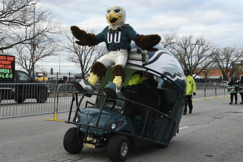 Our guess is that Philadelphia Eagles mascot Swoop will continue to work from home. (Photo by Andy Lewis/Icon Sportswire via Getty Images)