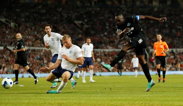 Soccer Football - Soccer Aid 2018 - England v Soccer Aid World XI - Old Trafford, Manchester, Britain - June 10, 2018 World XI's Usain Bolt in action Action Images via Reuters/Andrew Boyers