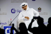 Qatar's Minister of State for Energy Affairs Saad Sherida al-Kaabi sits on stage during the Gastech 2021 conference in Dubai, United Arab Emirates, Tuesday, Sept. 21, 2021. Energy officials from Qatar and Turkey, long-standing foes of the United Arab Emirates, descended on Dubai along with hundreds of other executives on Tuesday, flocking to the largest gas expo in the world and the industry's first in-person conference since the pandemic began. (AP Photo/Jon Gambrell)