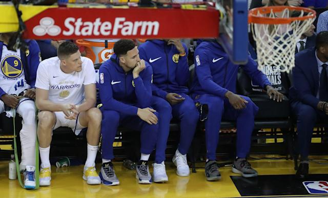Warriors guard Klay Thompson was limited to the bench Wednesday night. (Steve Russell/Toronto Star via Getty Images)