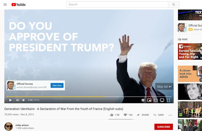 An ad for President Donald Trump on a white nationalist video on YouTube. (Courtesy Global Project Against Hate and Extremism)