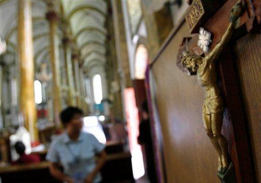 This file photo shows a Jesus statue, pictured at a church in Beijing, in 2007. A newly ordained Chinese bishop has not been seen since he quit the state-sanctioned Catholic association on the weekend, amid new tensions between Beijing and the Vatican, reports said on Tuesday