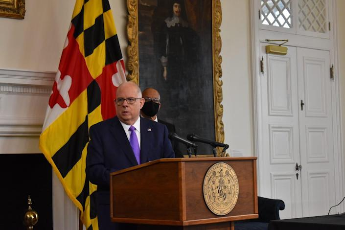 Gov. Larry Hogan speaks at a news conference in Annapolis on Jan. 11.