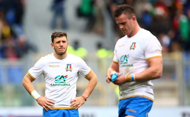 Rugby Union - Six Nations Championship - Italy vs Scotland - Stadio Olimpico, Rome, Italy - March 17, 2018 Italy's Matteo Minozzi looks dejected at the end of the match REUTERS/Alessandro Bianchi