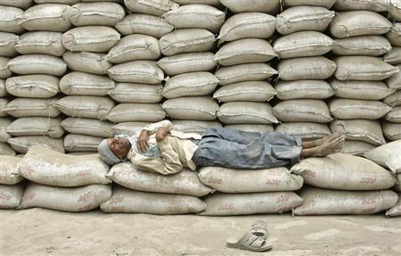 A labourer takes a nap on the stacked cement sacks of ACC company on the outskirts of Allahabad