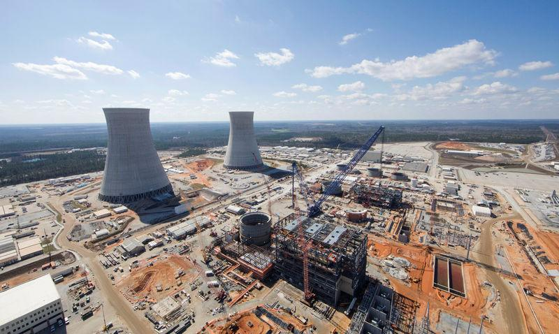 The Vogtle Unit 3 and 4 site, being constructed by primary contactor Westinghouse, is seen near Waynesboro