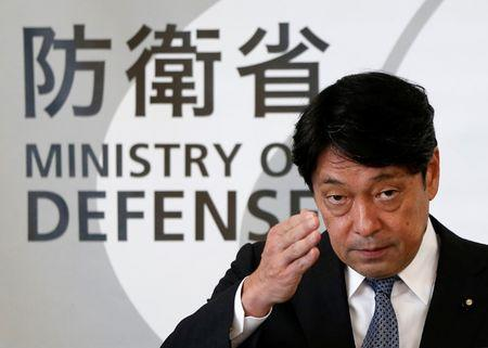 Japan's Defence Minister Itsunori Onodera attends a news conference at Defence Ministry in Tokyo