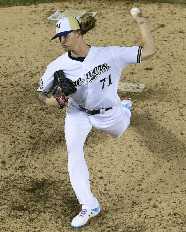 Milwaukee Brewers pitcher Josh Hader (71) throws during the eighth inning at the Major League Baseball All-star Game, Tuesday, July 17, 2018 in Washington. (AP Photo/Susan Walsh)