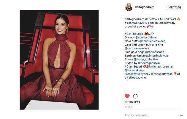 Delta regularly credits and thanks professionals that dress her on her Instagram account. Source: Instagram