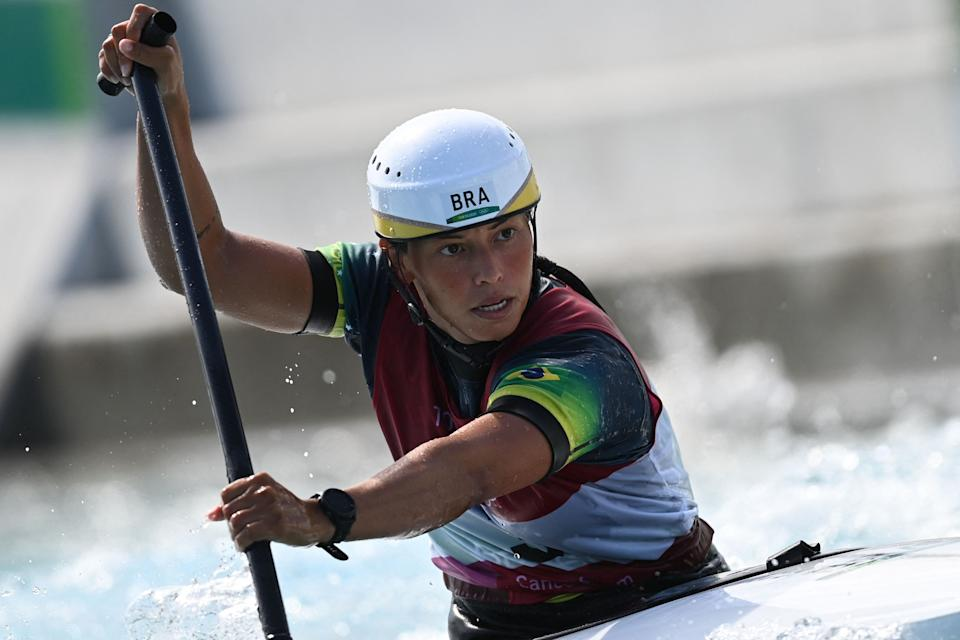 Brazil's Ana Satila competes in the women's Canoe semi-final during the Tokyo 2020 Olympic Games at Kasai Canoe Slalom Centre in Tokyo on July 29, 2021. (Photo by Charly TRIBALLEAU / AFP) (Photo by CHARLY TRIBALLEAU/AFP via Getty Images)