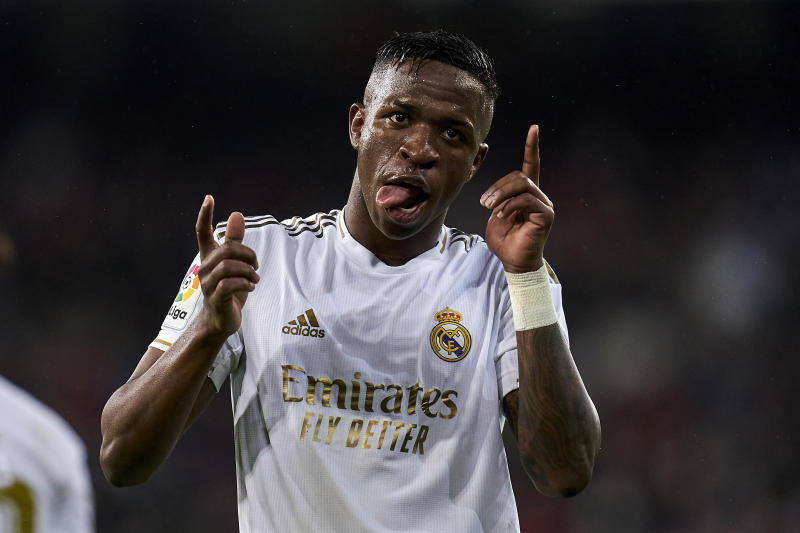 MADRID, SPAIN - MARCH 01: Vinicius Jr of Real MAdrid CF celebrates after scoring his team's first goal during the Liga match between Real Madrid CF and FC Barcelona at Estadio Santiago Bernabeu on March 01, 2020 in Madrid, Spain. (Photo by Diego Souto/Quality Sport Images/Getty Images)