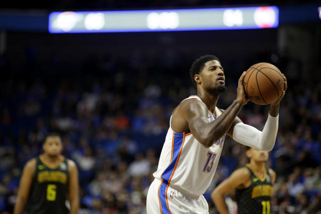 """<a class=""""link rapid-noclick-resp"""" href=""""/nba/players/4725/"""" data-ylk=""""slk:Paul George"""">Paul George</a> is determined to take his game to another level. (Getty)"""